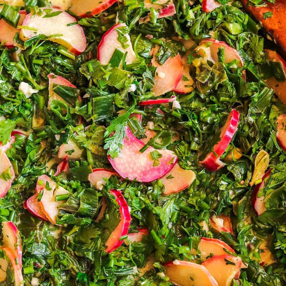 cooking rhubarb & radish greens