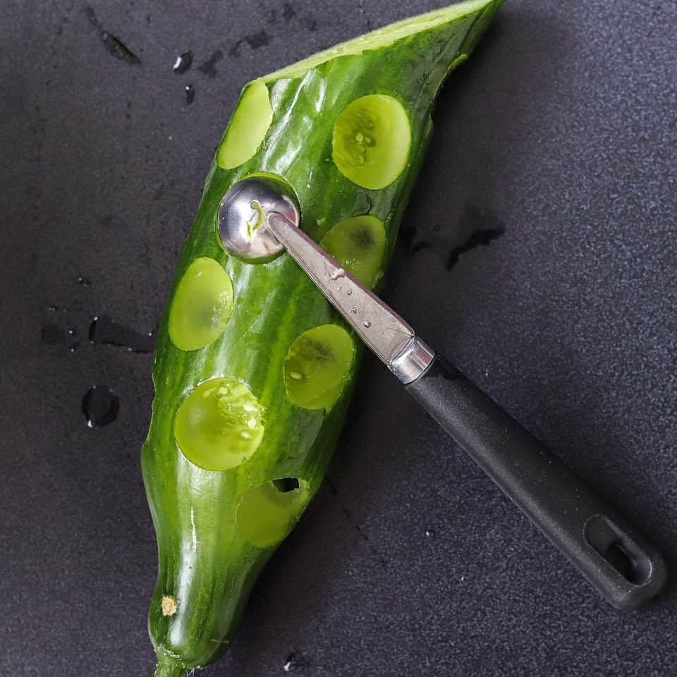 cucumber with a melon baller