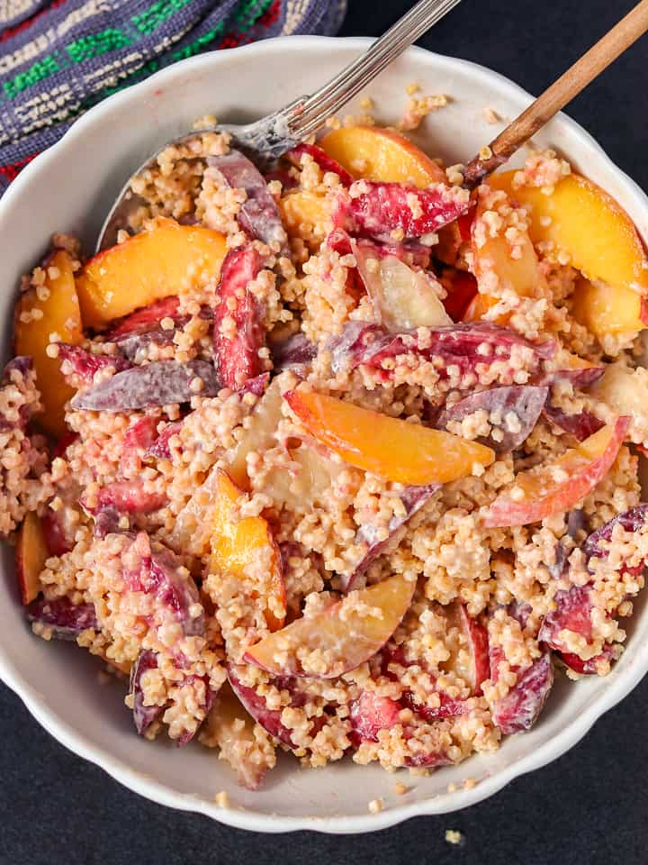 ginger millet breakfast with peaches