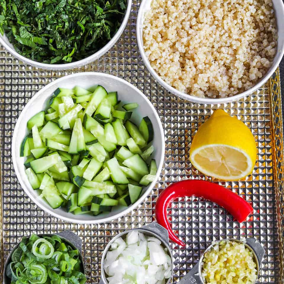 ingredients for herby quinoa salad recipe