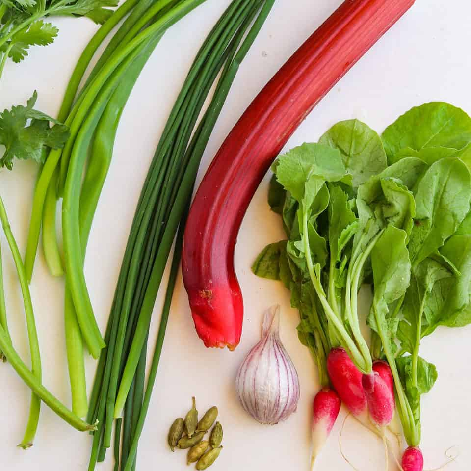 ingredients for rhubarb recipe with radish greens
