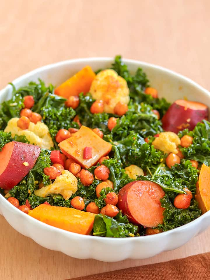 marinated kale with smoky chickpeas