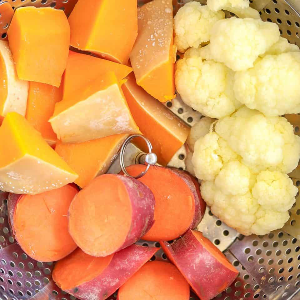 steamed cauliflower, sweet potato & butternut squash