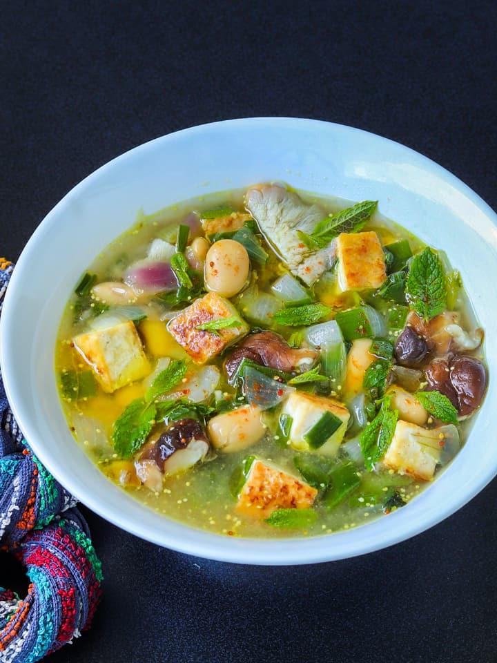 tofu soup with shiitake mushrooms