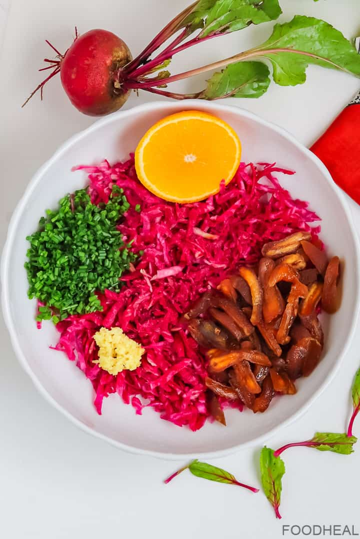 Ingrédients pour la salade de betteraves sucrées