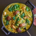 Lentil curry with brown rice & split peas