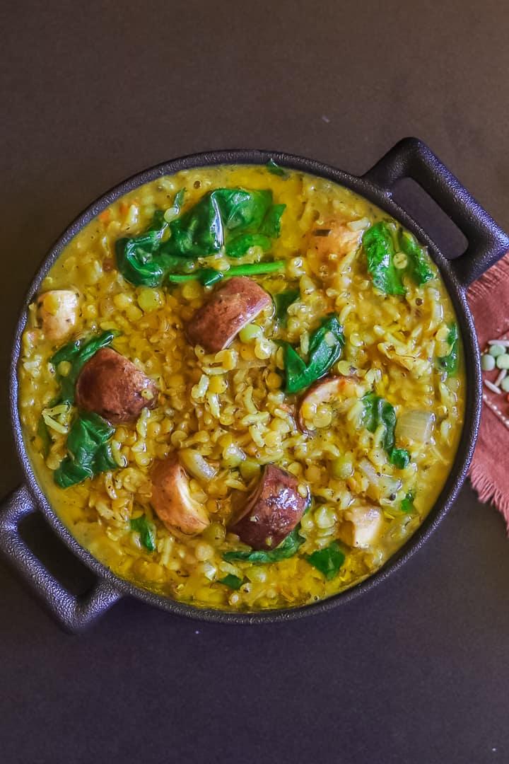 Curry de lentilles aux champignons et épinards