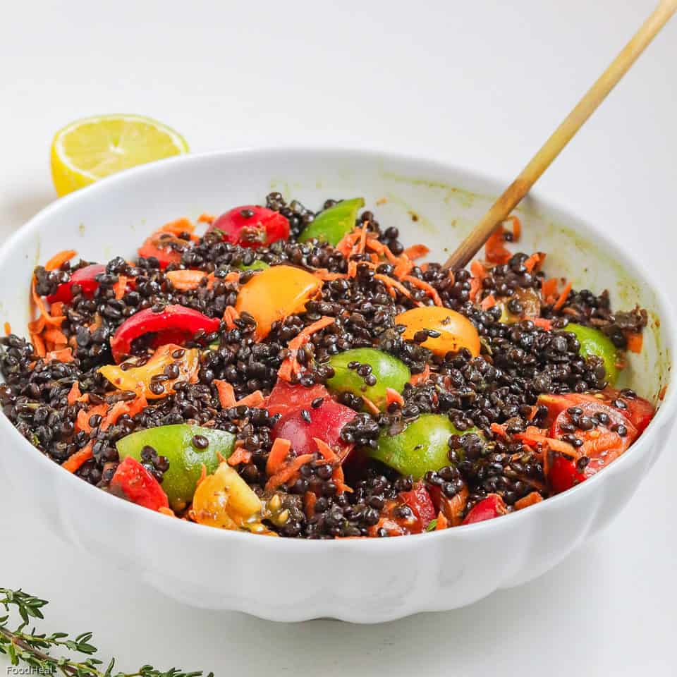 black lentils salad recipe with tomatoes