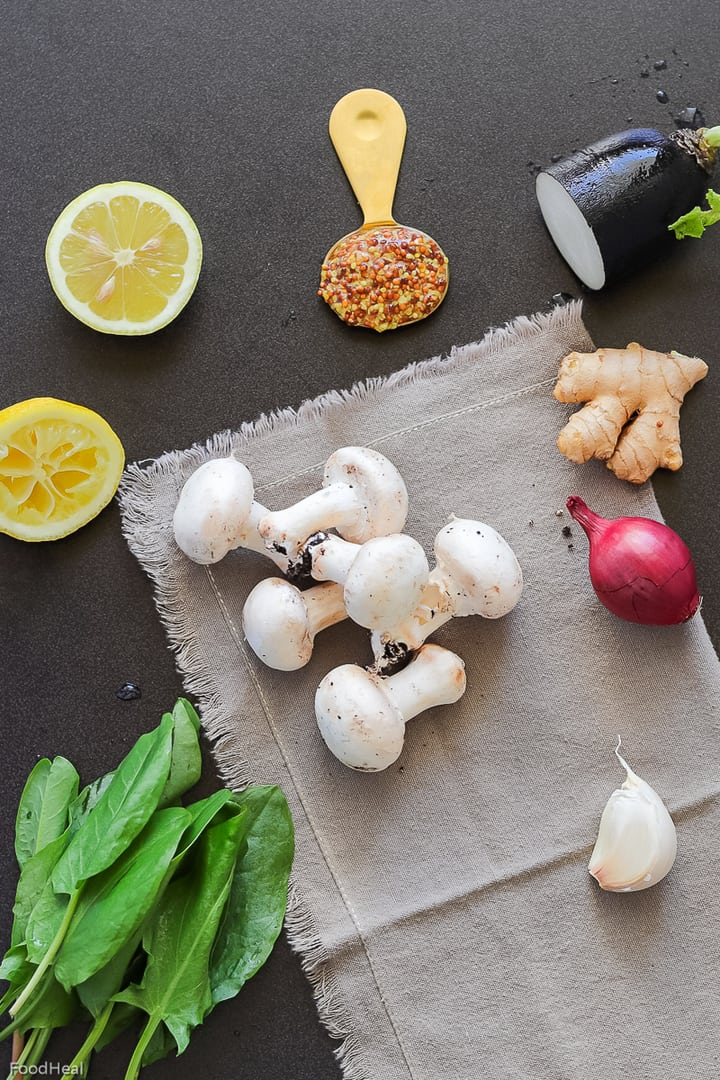 Ingredients for mushroom salad