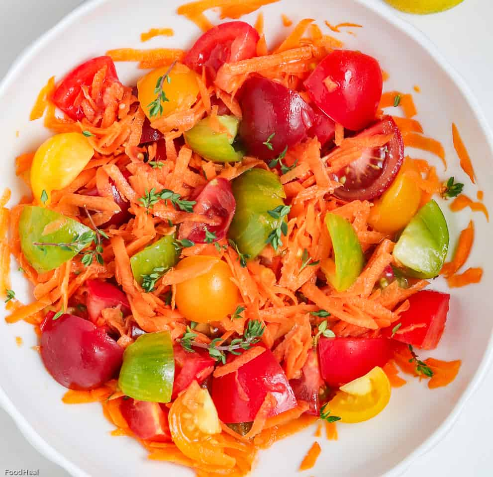 shredded carrots & tomatoes in a bowl
