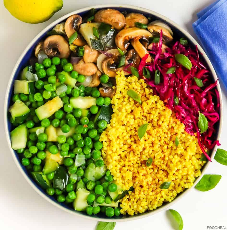 millet, peas, red cabbage, mushrooms cooked in teriyaki sauce