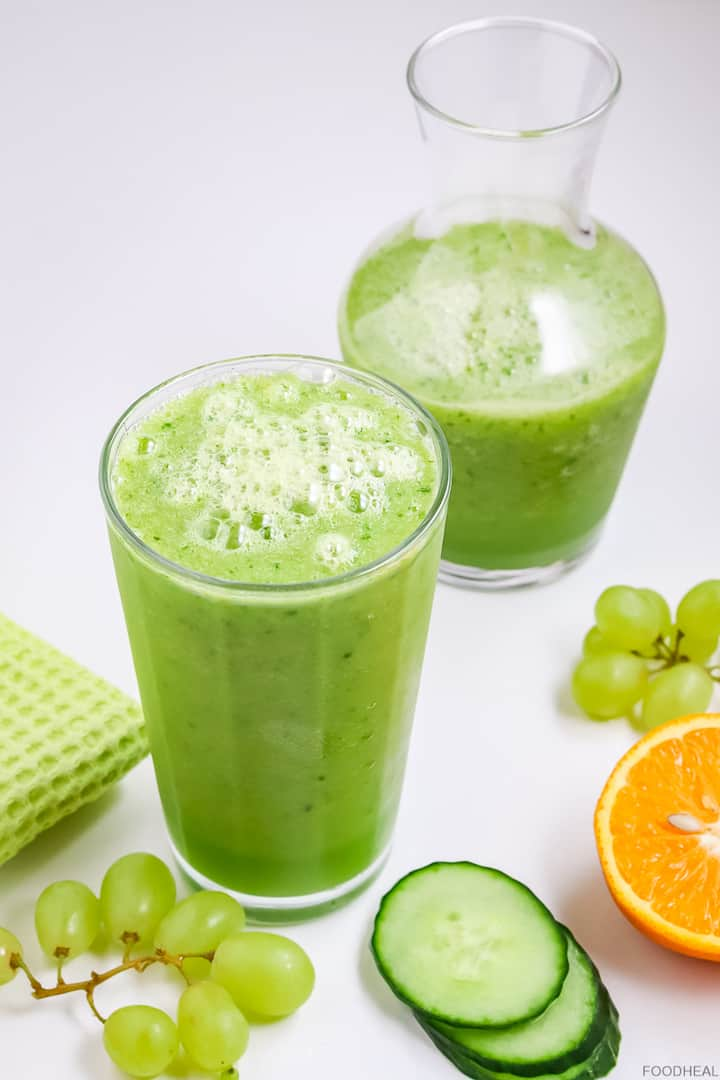 cucumber detox smoothie with grapes, and orange