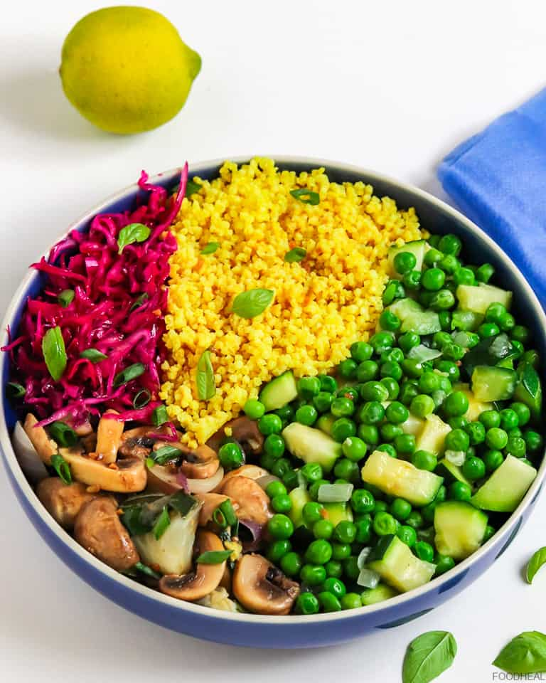 vegan lunch of millet, mushrooms, red cabbage, peas &zucchini