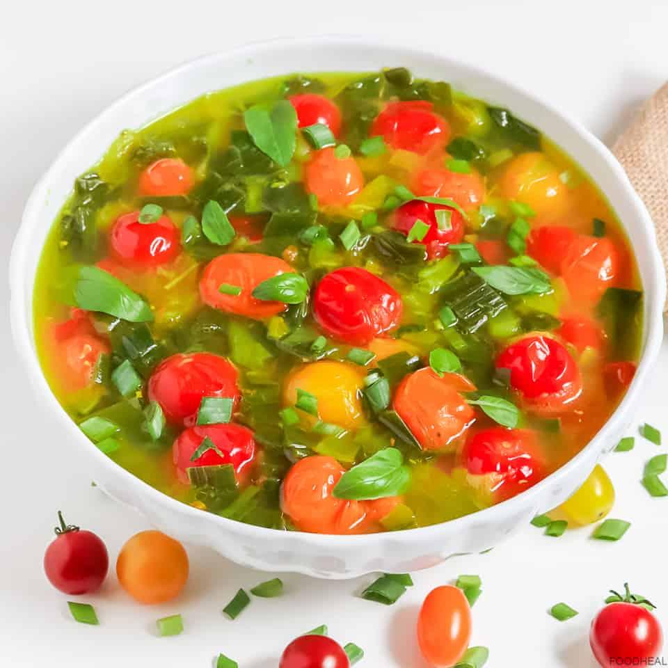 Spring onion cherry tomato soup with fresh basil