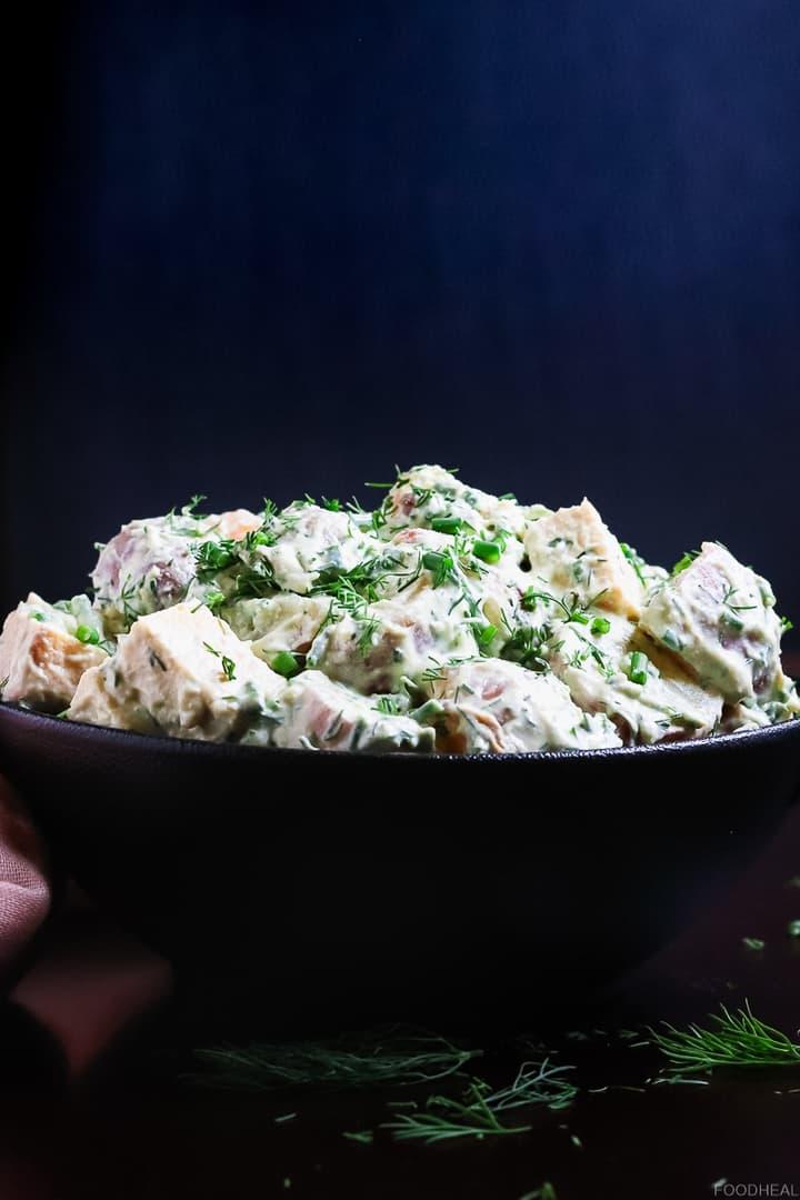 Vegan potato salad with tofu & fresh herbs