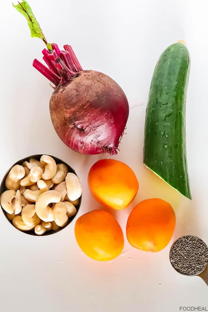 ingrédients pour smoothie à la betterave
