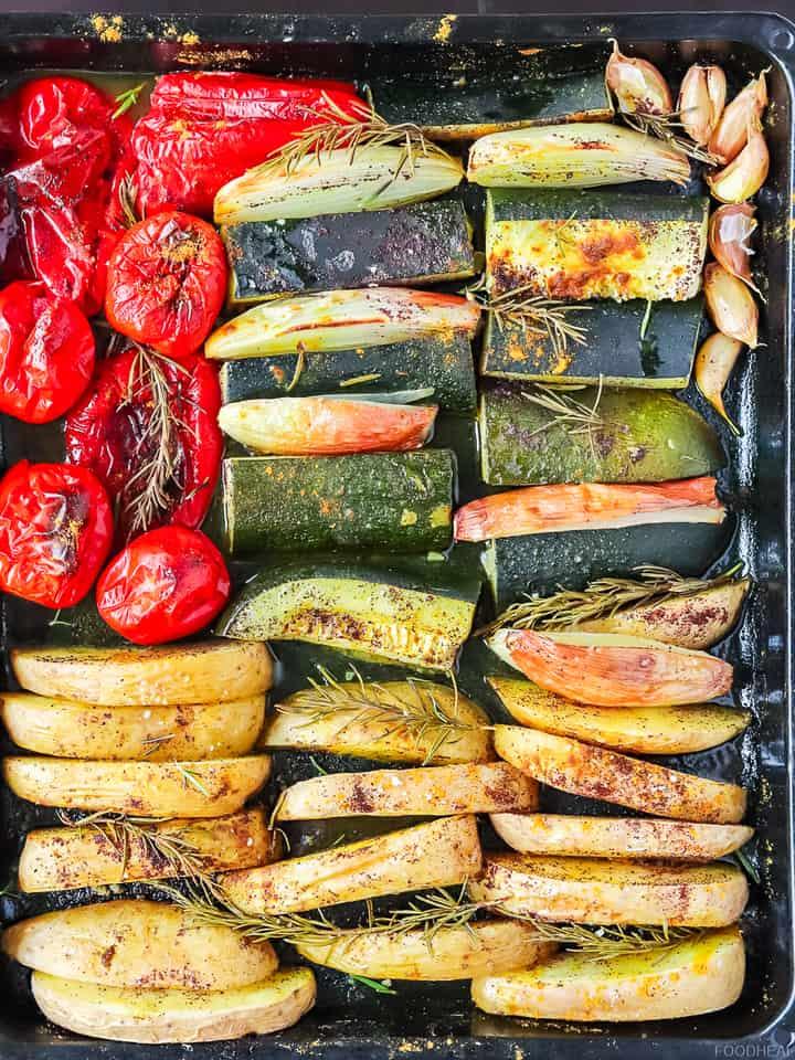 Spiced roasted potatoes, zucchini, tomatoes, garlic,