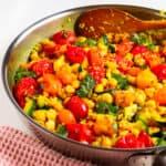 quinoa, chickpeas, tomatoes, zucchini, & parsley