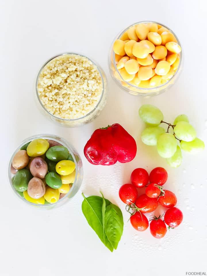 Ingredients for Mediterranean quinoa salad