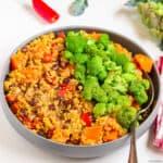 Sweet potato quinoa chili with sauteed broccoli