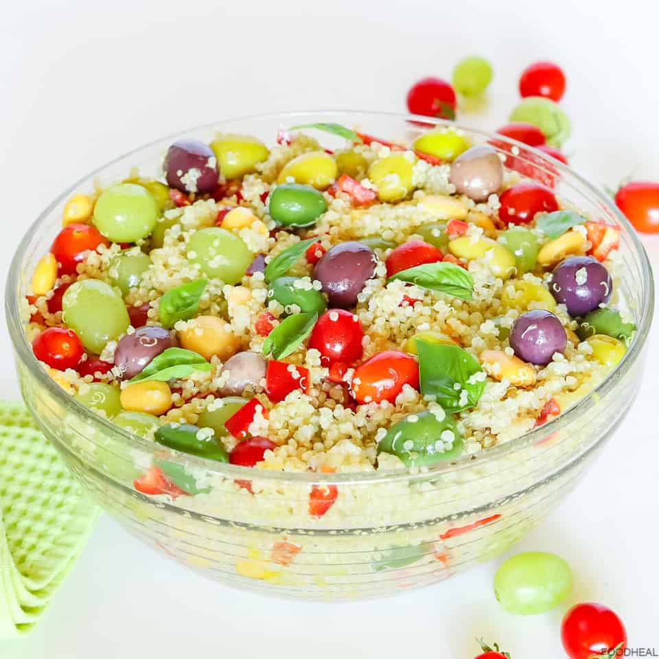 Mediterranean quinoa salad with olives