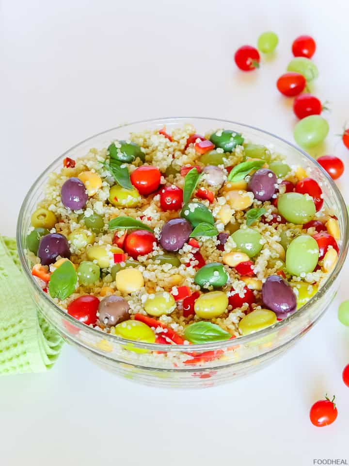 Mediterranean salad with quinoa and olives