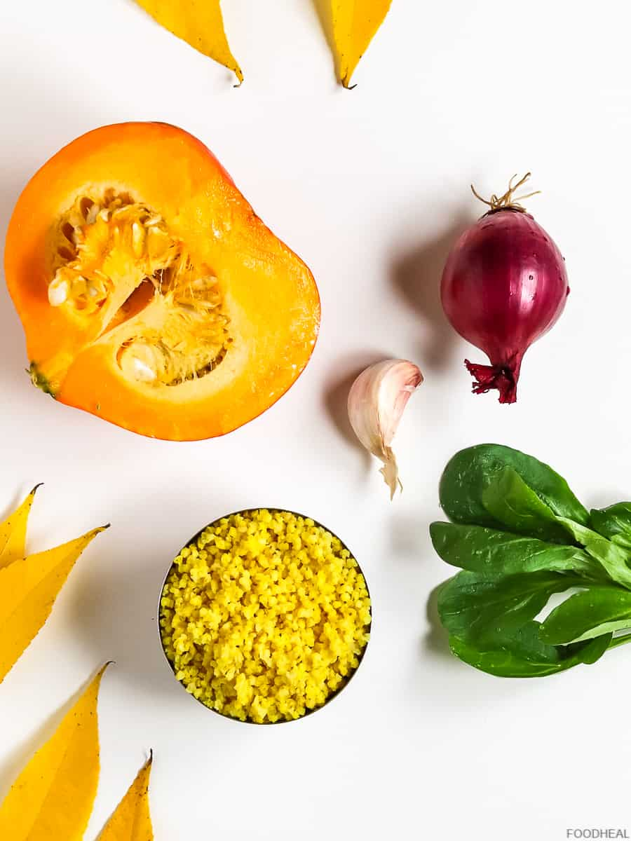 ingredients for millet with roasted pumpkin