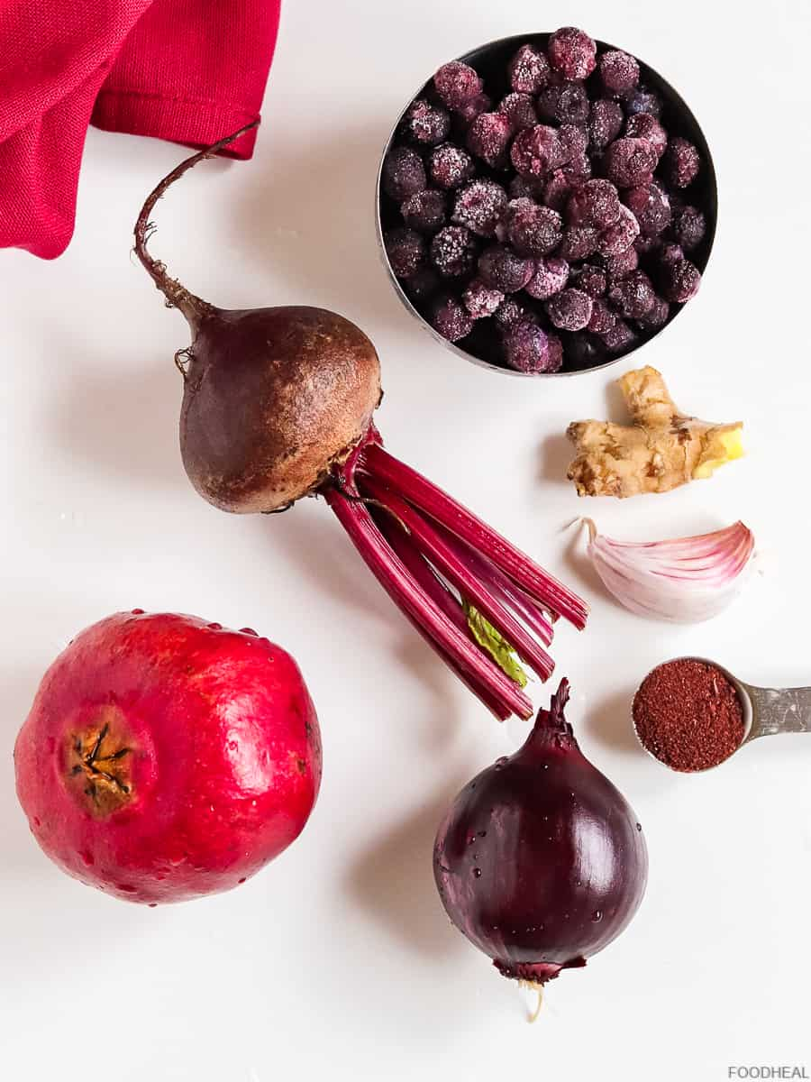 Ingredients for roasted beets with pomegranate & sumac