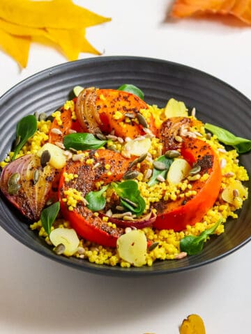 Millet, roasted spiced pumpkin with onion & lettuce
