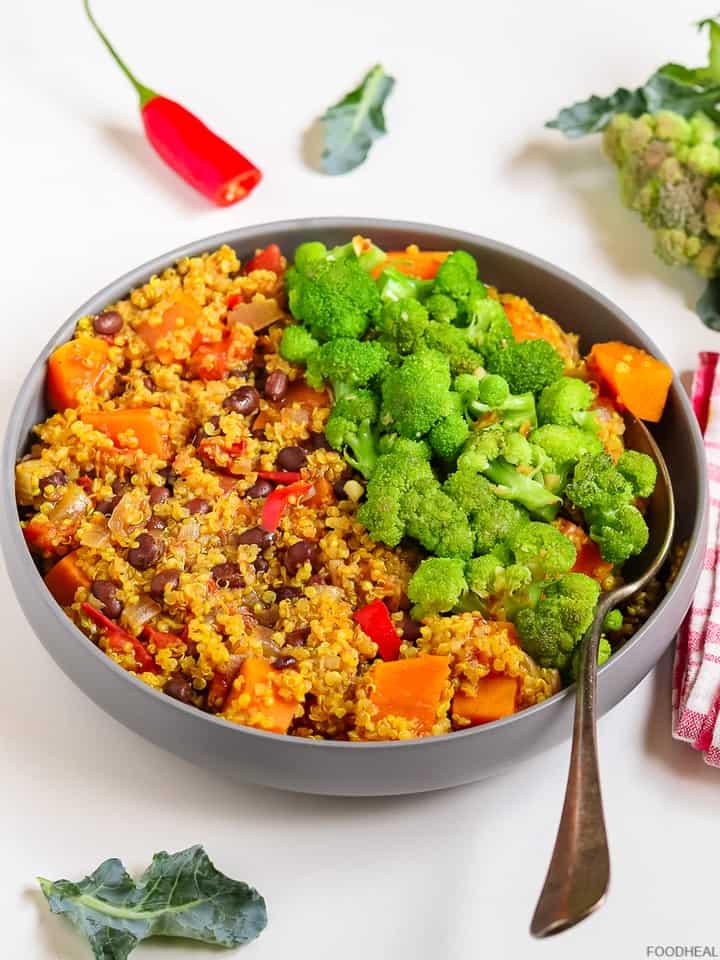 Sweet potato quinoa chili with broccoli in a palte
