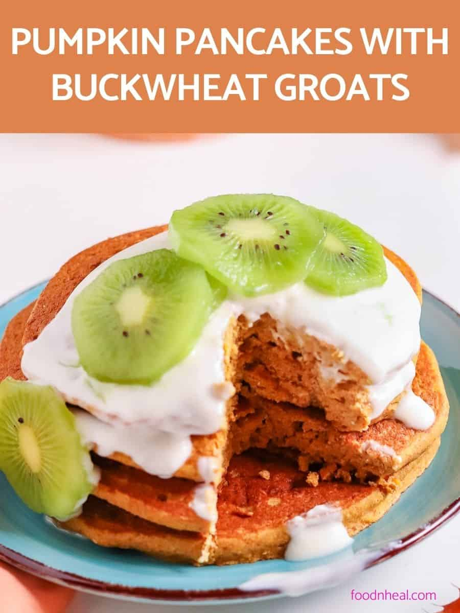 pumpkin pancakes with kiwi & yogurt
