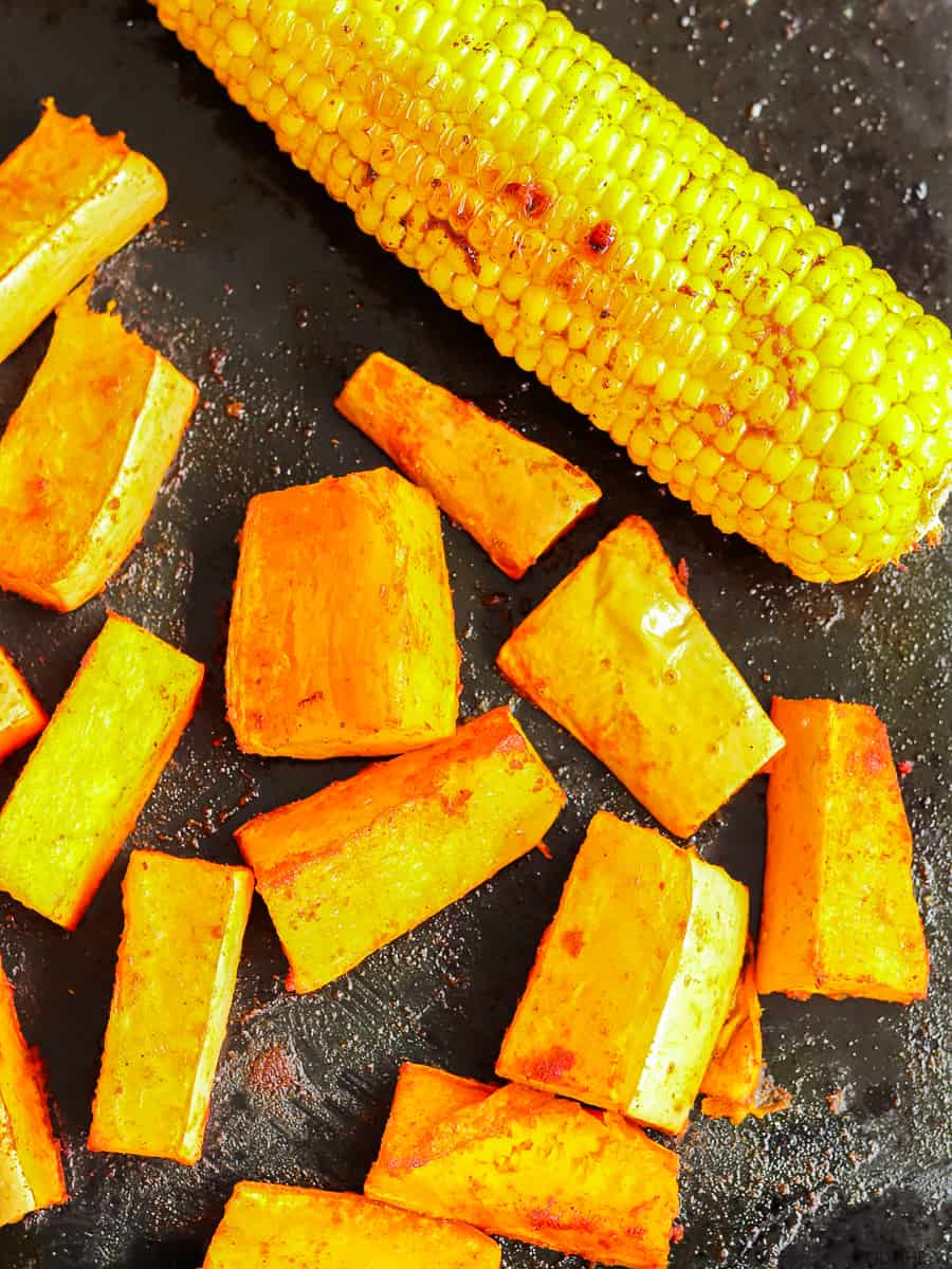 spiced butternut pieces and corn