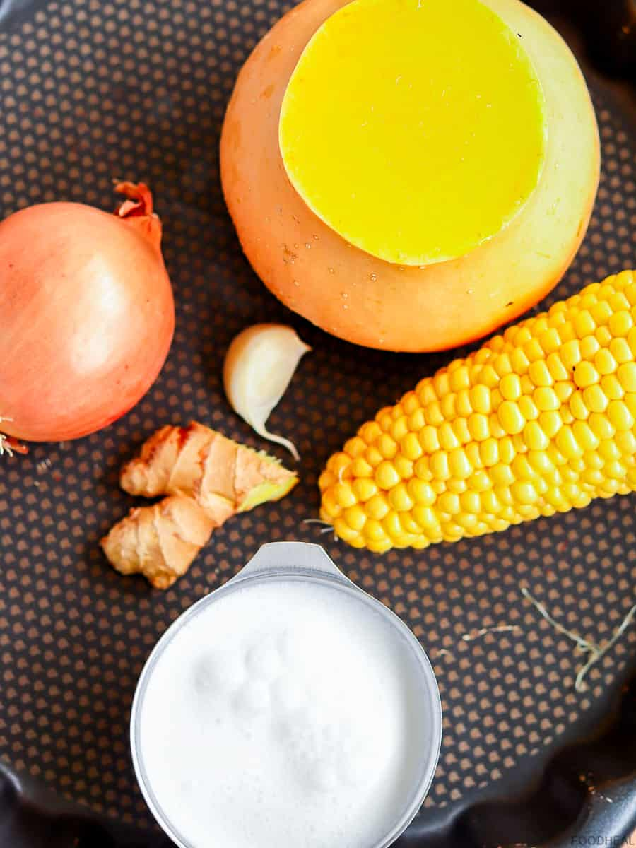 Ingredients to make butternut corn soup
