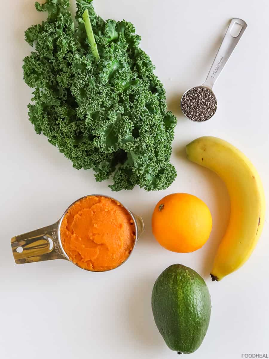 ingredients for kale sweet potato smoothie
