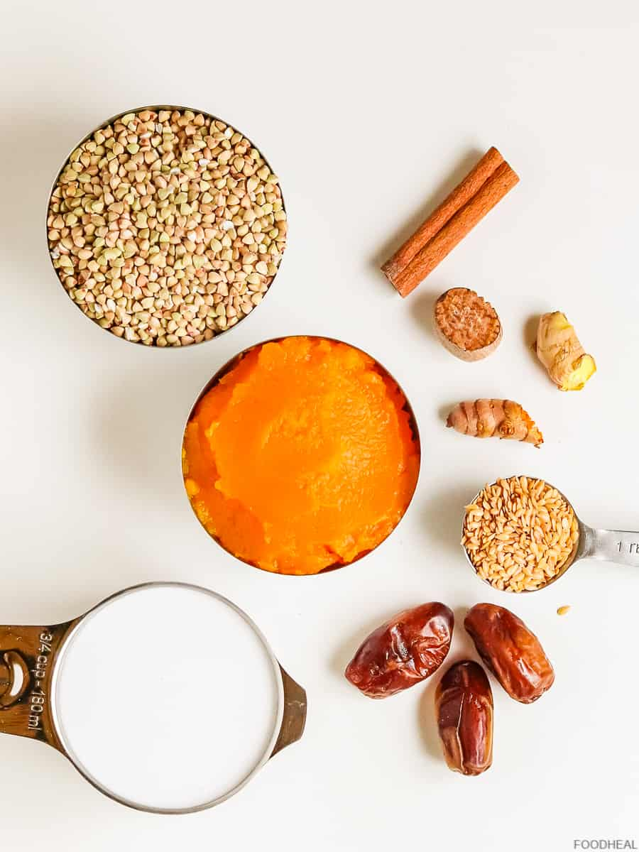 pumpkin puree, buckwheat, milk, dates and other ingredients