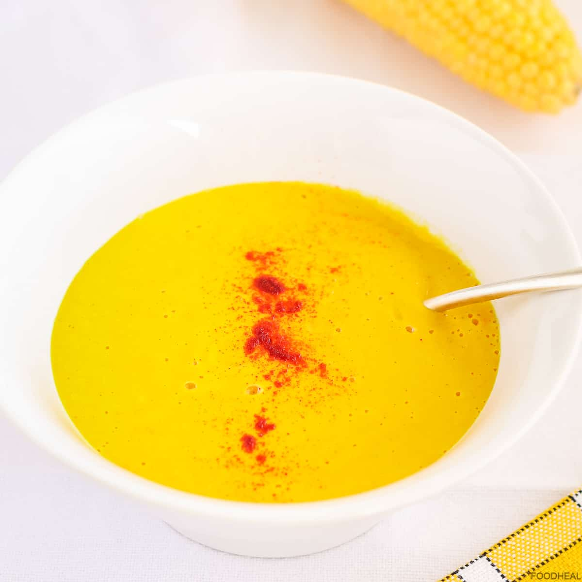 Corn and butternut soup spiced with paprika