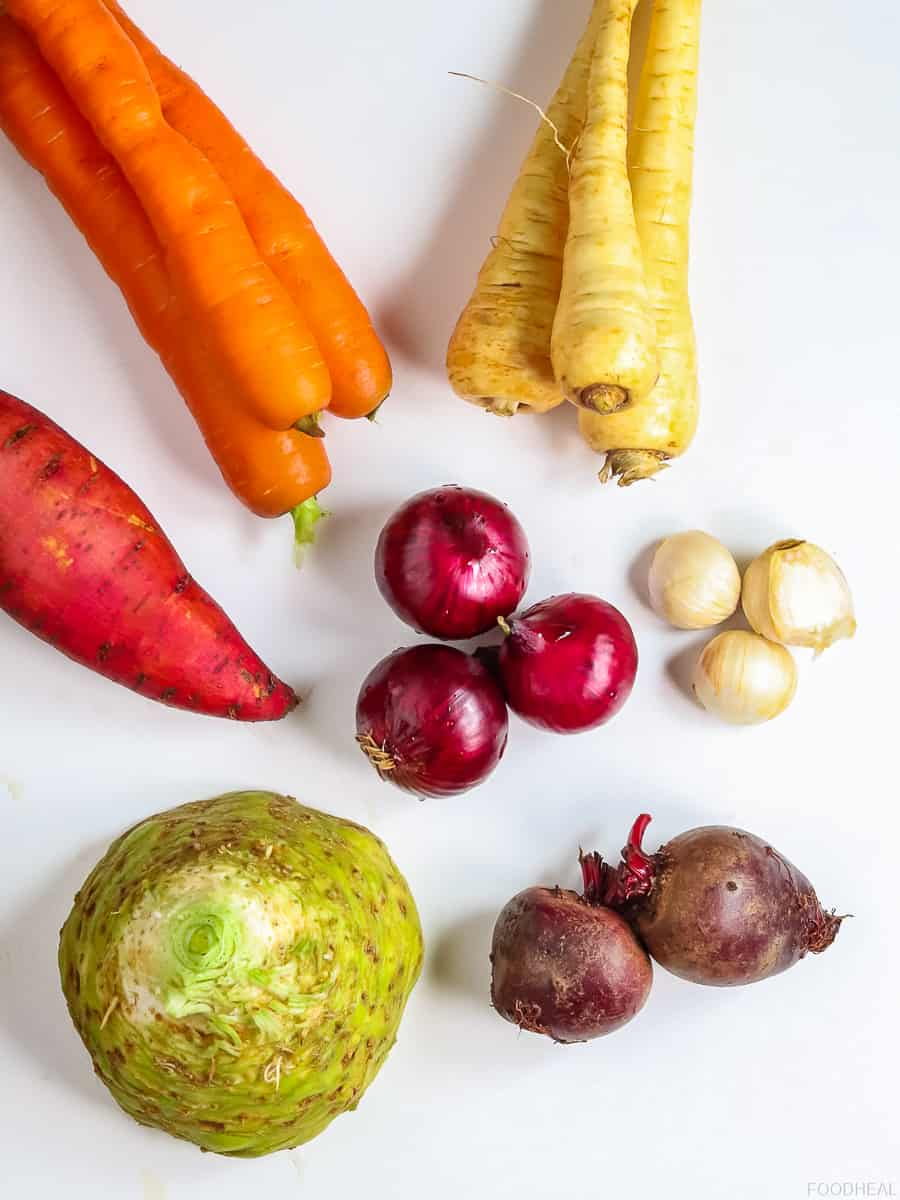 Raw root vegetables