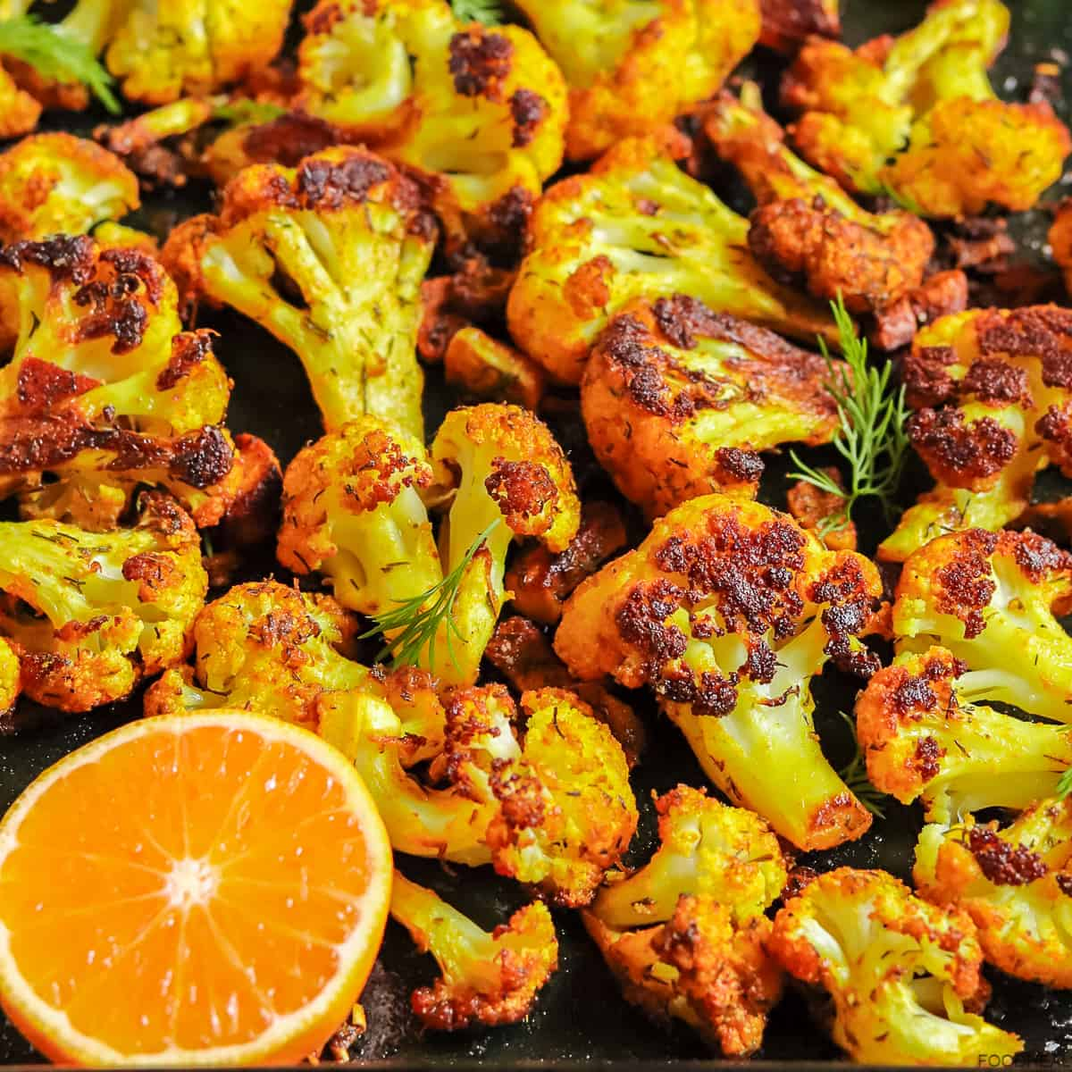 Roasted cauliflower curry with garlic, mandarin & dill