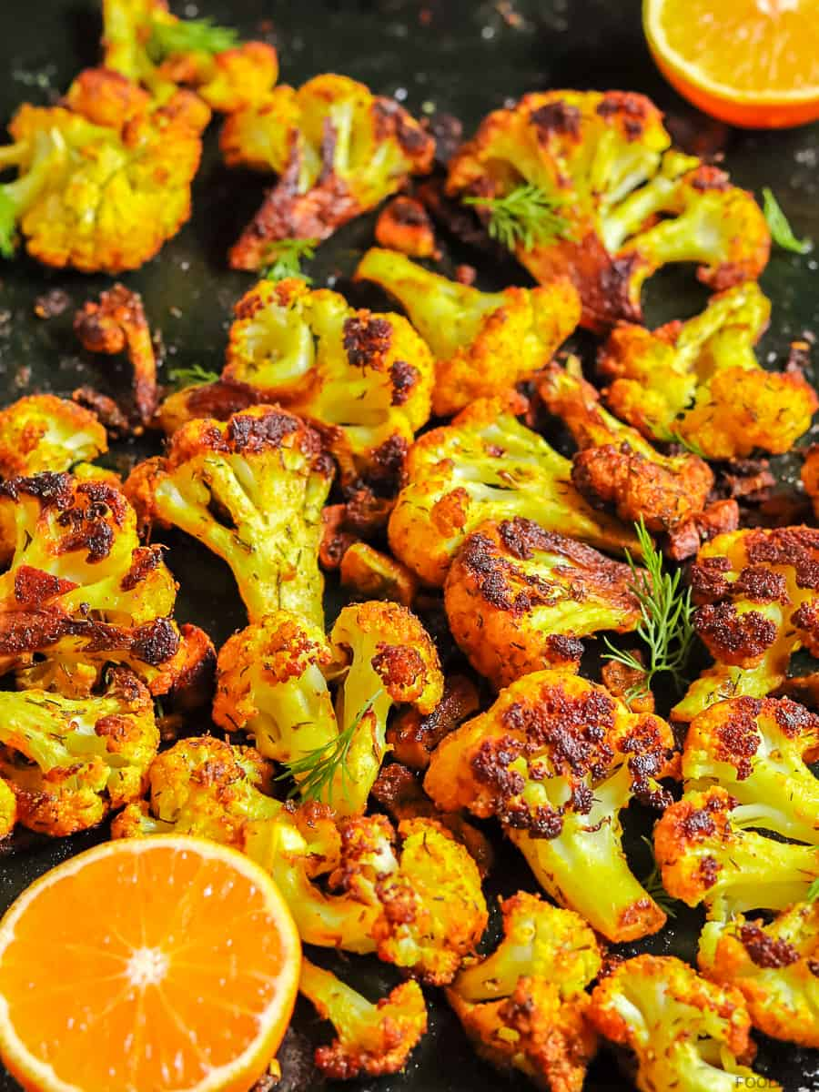 Roasted cauliflower curry with dill