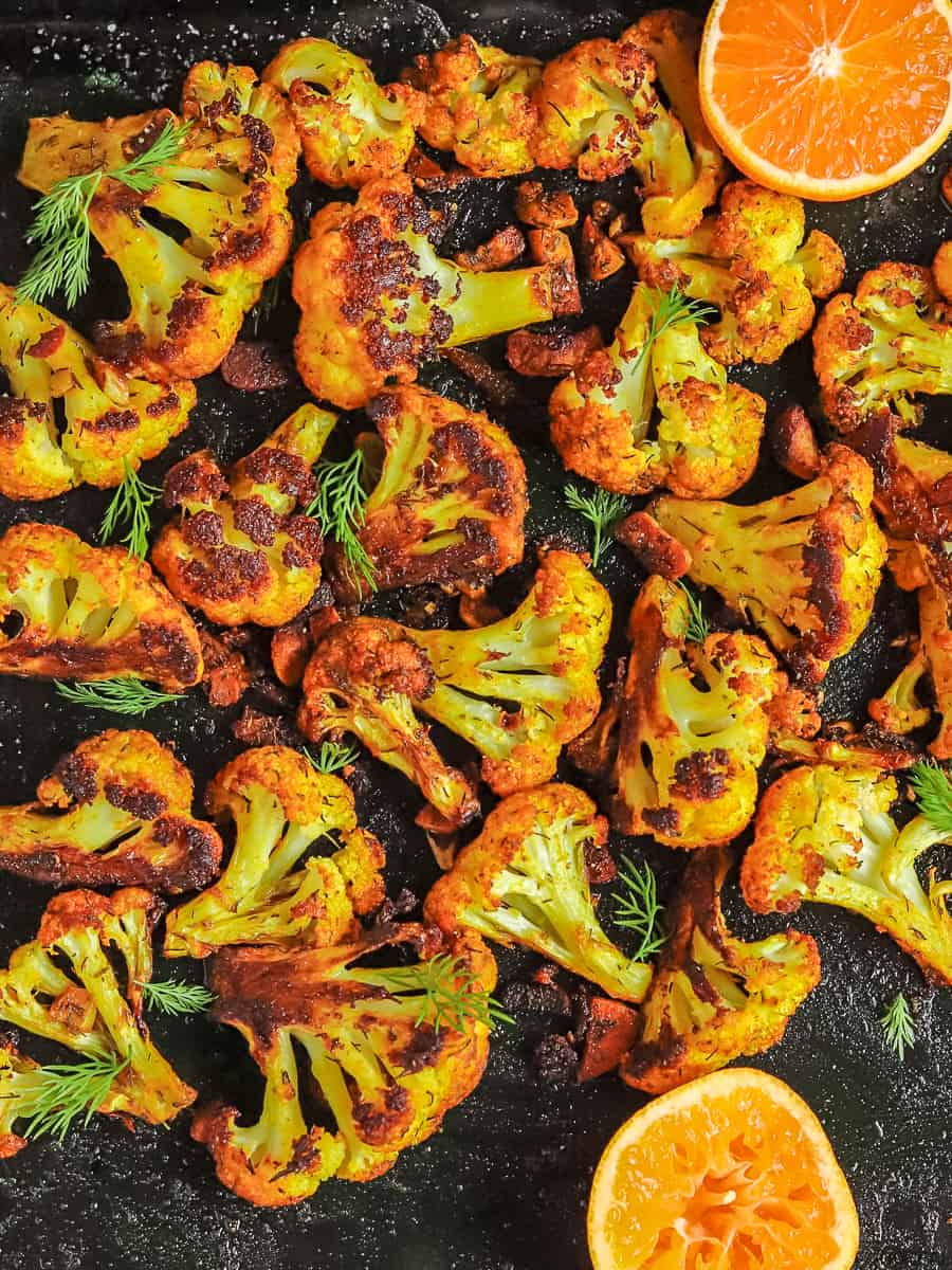 Roasted curried cauliflower with mandarin & dill