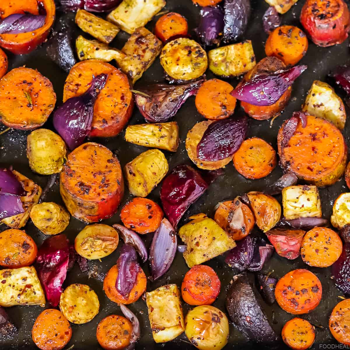 Roasted root vegetables on a sheet pan