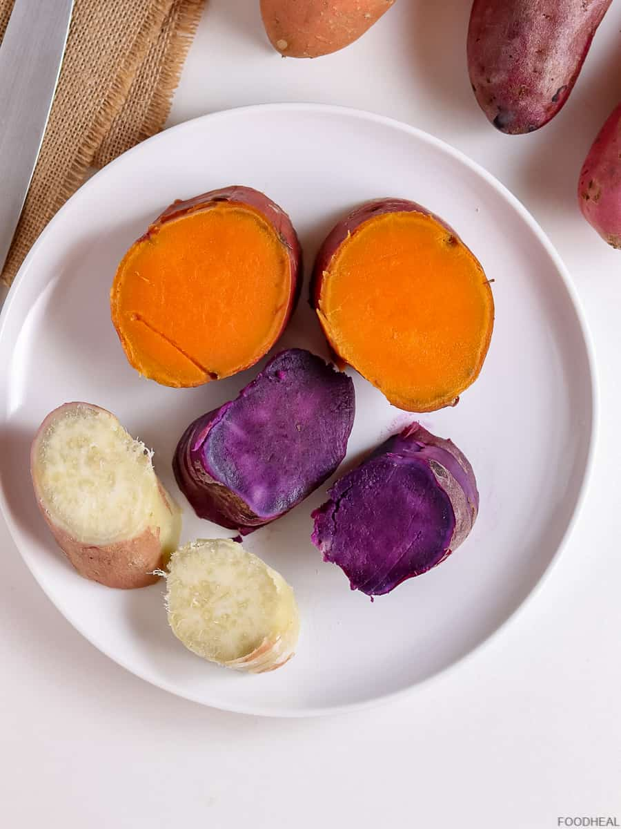 orange, purple & white cooked sweet potatoes