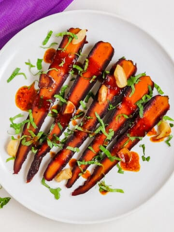 roasted purple carrots with balsamic dressing