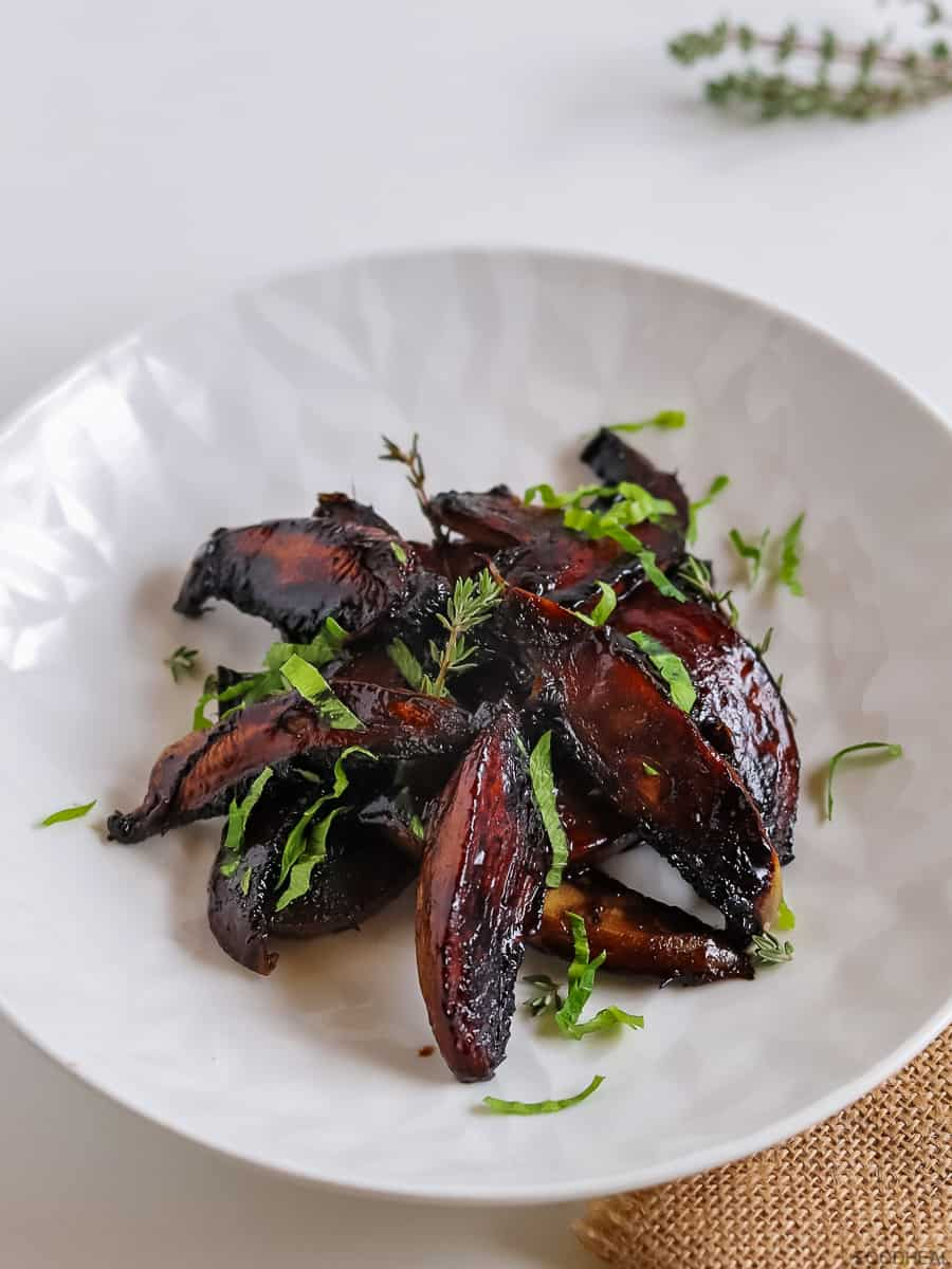Sauteed mushrooms with herbs in a plate