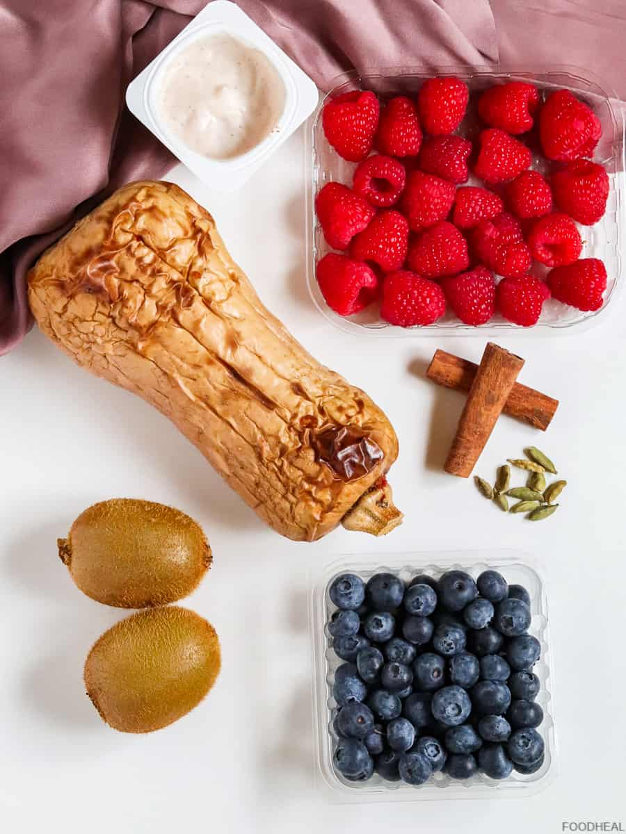 roasted butternut, berries & yogurt