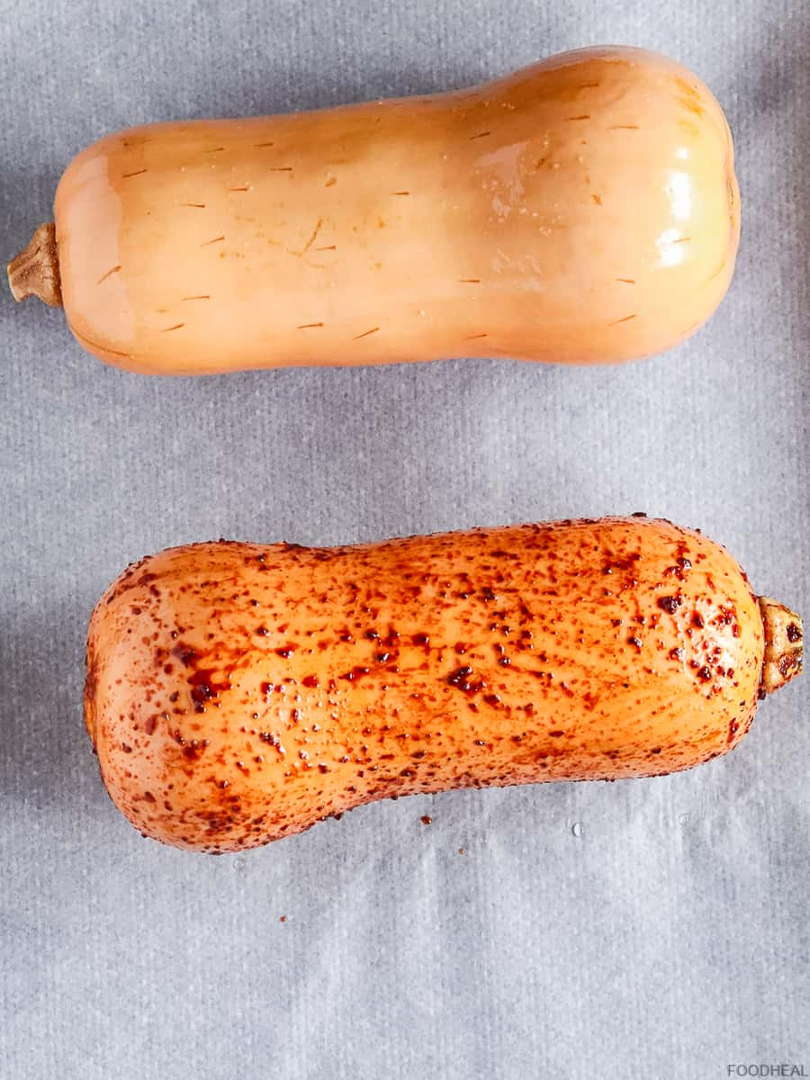 A spiced and none spiced butternuts before roasting
