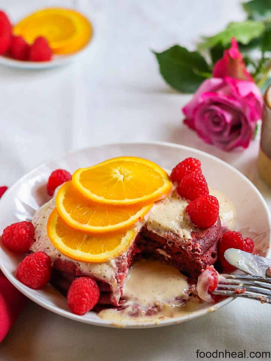 Fluffy healthy pancakes with beets