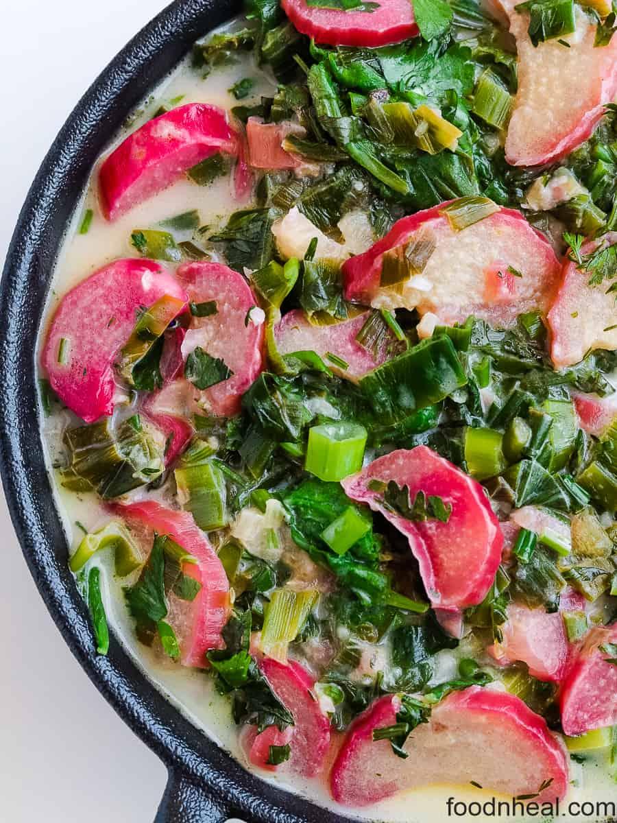 rhubarb and green radish dish