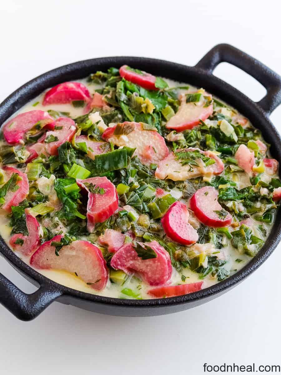 radish green recipe with rhubarb