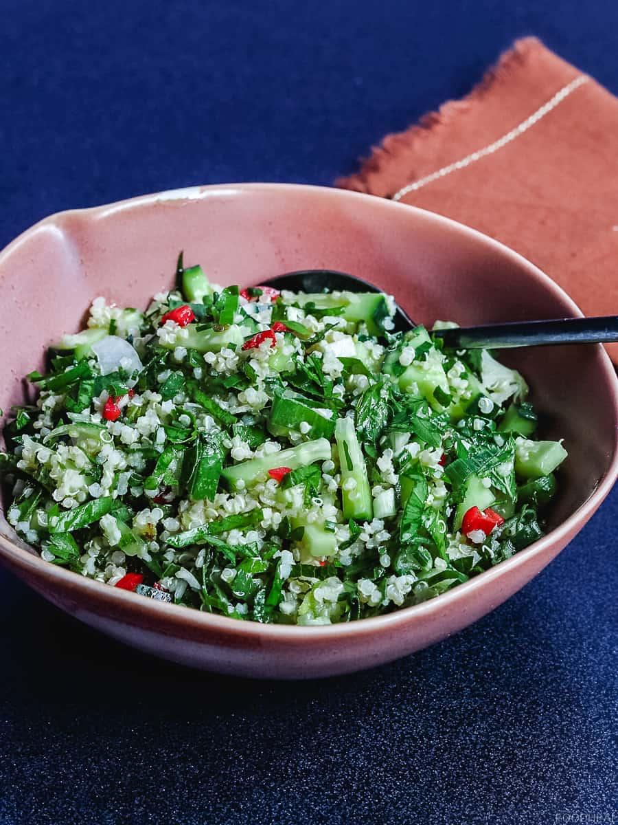 vegan quinoa salad, quinoa salad, tabouleh, Mediterranean quinoa salad, quinoa recipes